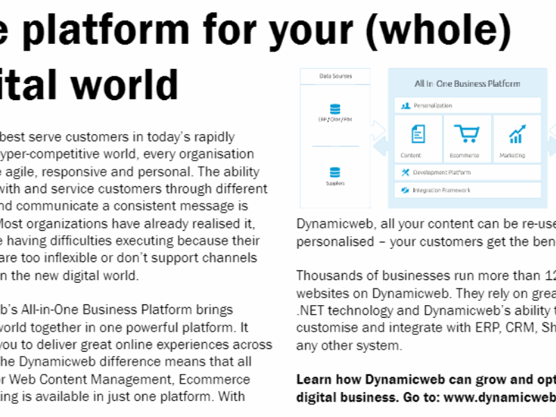 Dynamicweb in Business and Industry Today